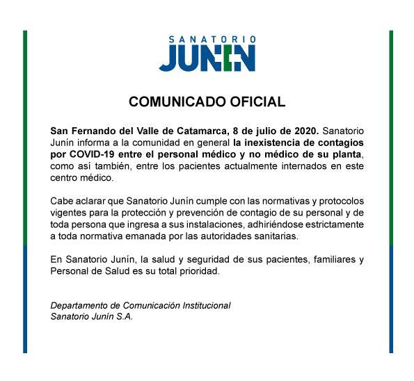 sanatorio junin comunicado